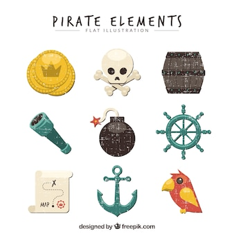 Vintage collection of pirate elements
