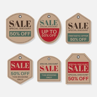 Vintage collection of sales tags with discounts