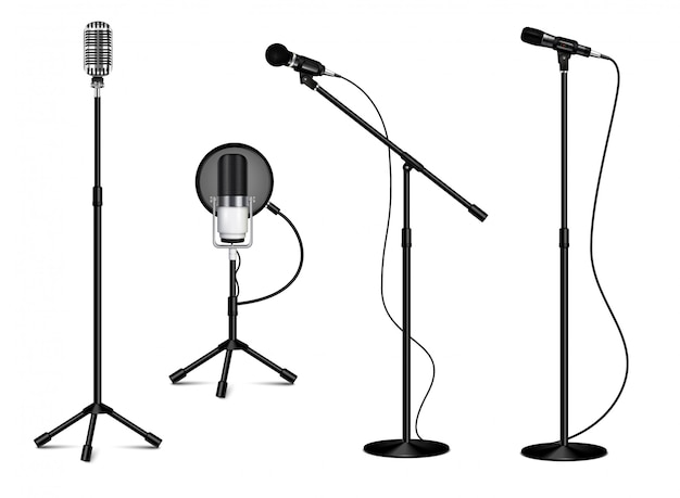 Vintage collection of standing professional microphones with wire on white background in realistic style isolated  illustration