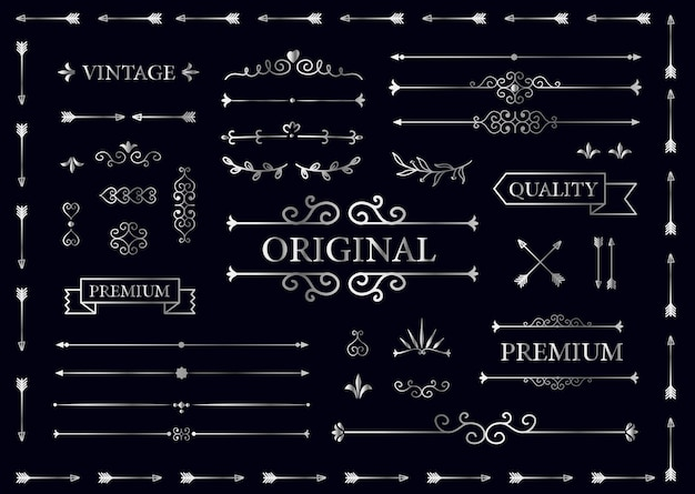 Vintage collection of vector labels, banners, text dividers. premium