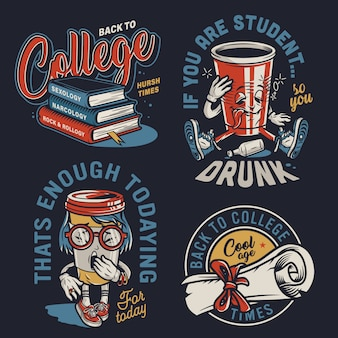 Vintage college colorful labels