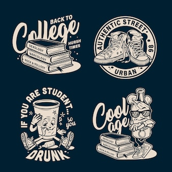 Vintage college emblems set