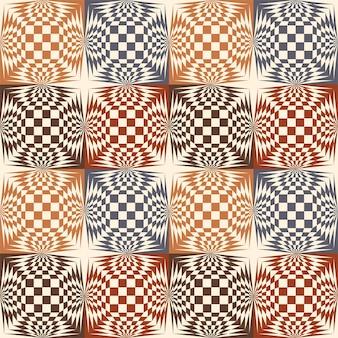 빈티지 컬러 체스 패턴 escher입니다. 벡터 일러스트 레이 션