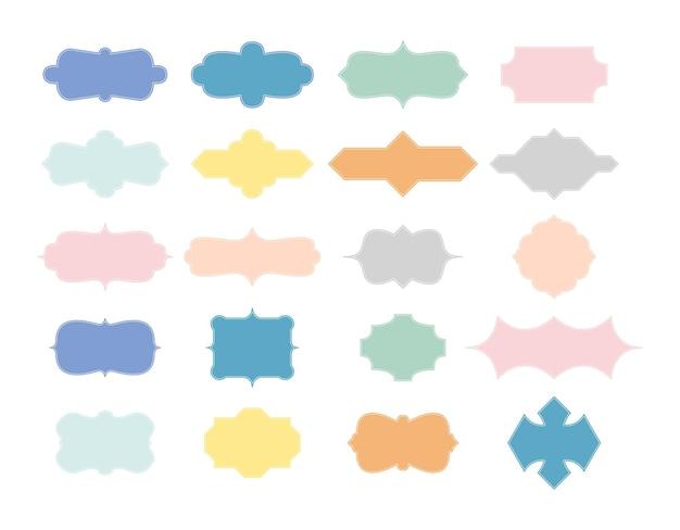Набор старинных цветных рамок - набор векторных изображений клипартов