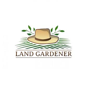 Vintage color retro logo for garden studio. badge with farm tools. label with wheelbarrow and herb.