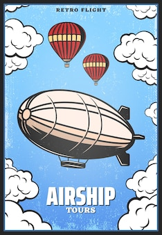 Vintage colored airship poster with zeppelin or digirible hot air balloons on sky background