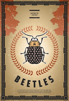 Винтажный цветной плакат с жуком с надписью маленький жук в центре лаврового венка и солнечных лучей