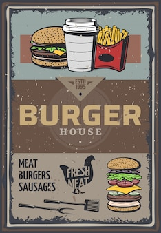Vintage colored burger house poster with inscription hamburger cheeseburger soda french fries cooking utensils