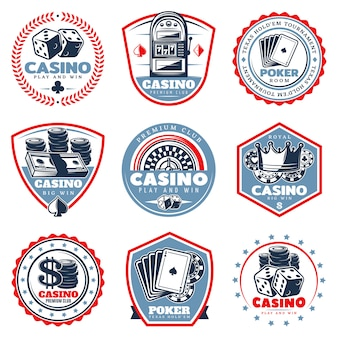 Vintage colored casino labels set