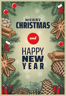Винтажные цветные рождественские специи плакат
