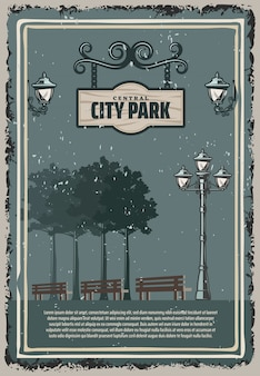 Vintage colored city park poster with street lanterns trees benches and hanging wooden signboard