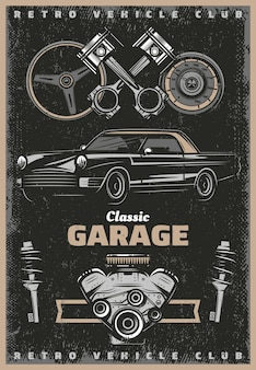 Vintage colored classic garage service poster with retro car engine pistons steering wheel speedometer shock absorbers