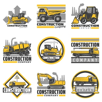 Vintage colored construction vehicles emblems set with bulldozer excavator concrete mixer dump building trucks isolated