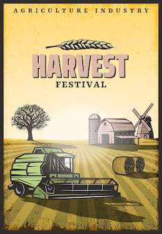 Vintage colored harvesting poster with inscription combine hay bales barn windmill and tree on field