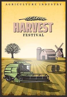 Vintage poster di raccolta colorata con iscrizione combina il mulino a vento del granaio delle balle di fieno e l'albero sul campo