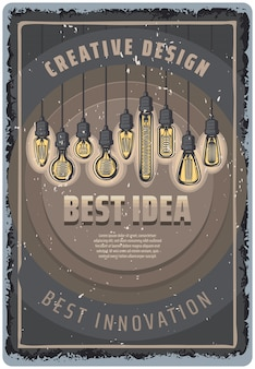 Vintage colored light bulbs poster with inscriptions and hanging fluorescent lightbulbs of different shapes
