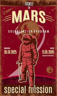 Poster vintage colorato mars discovery