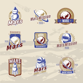 Vintage colored mars exploration labels set