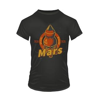 빈티지 컬러 화성 탐사 인쇄 개념