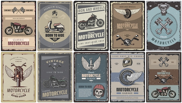 Vintage colored motorcycle posters set with classic motorbikes scooter moto parts