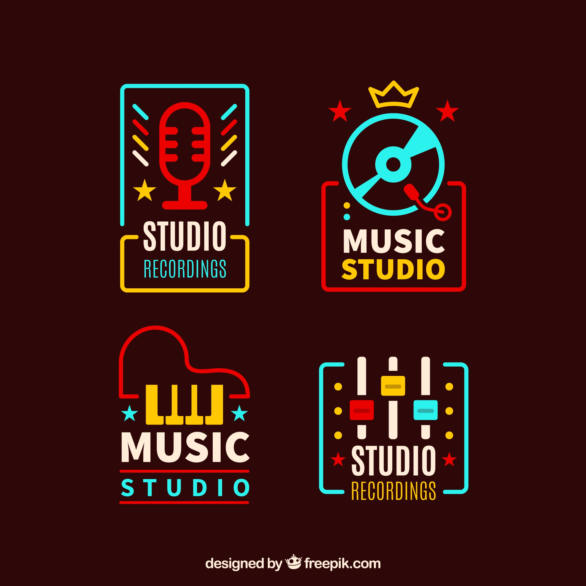 Vintage colored music logotypes pack