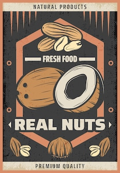 Vintage colored natural fresh nuts poster with inscription coconut peanut almond and hazelnut
