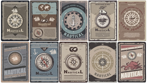 Vintage colored nautical brochures set with text different navigational compasses anchors ships map captain hat octopus isolated