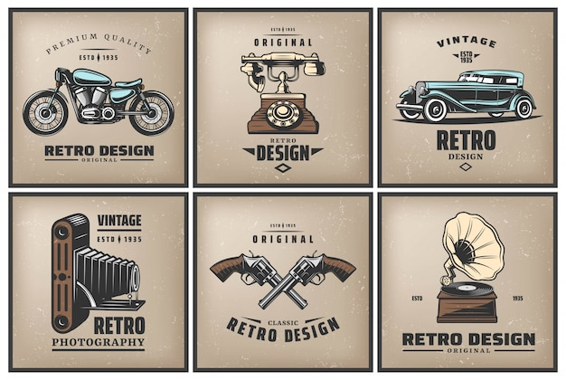 Vintage colored posters set with classic automobile motorcycle telephone camera crossed pistols gramophone isolated