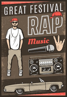 Vintage colored rap music festival poster with inscription rapper car cabriolet boombox microphone hand gesture