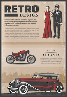 Vintage colored retro poster with classic car motorcycle beautiful woman wearing red dress and gentleman smoking pipe