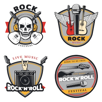 Vintage colored rock music emblems set