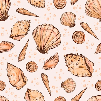 Vintage colored seashell pattern