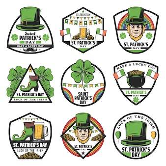 Vintage colored st patrick labels set