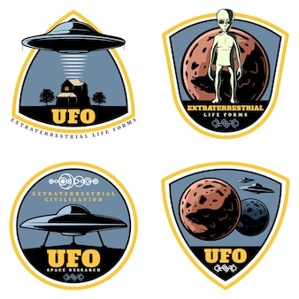 Vintage colored ufo emblems set