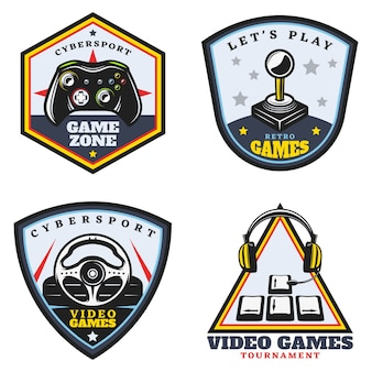 Vintage colored video game emblems set
