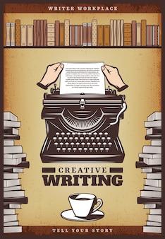 Винтажный цветной писательский плакат с руками вставляет бумагу в пишущую машинку, книги с кофейной чашкой и книжную полку