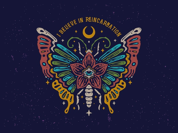 Vintage colorful butterfly design