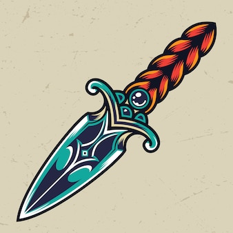 Vintage colorful dagger concept