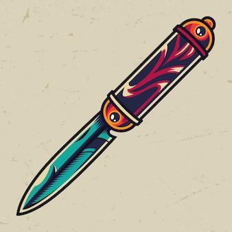 Vintage colorful elegant pocket knife
