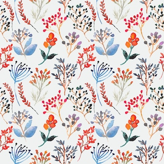 Vintage colorful floral watercolor seamless pattern