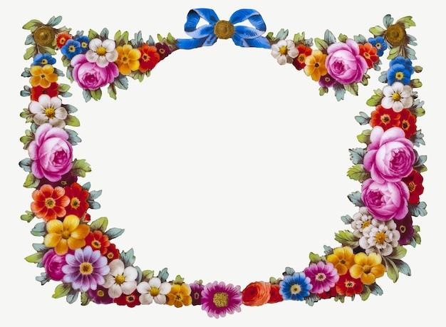 Винтажная красочная цветочная рамка векторная иллюстрация
