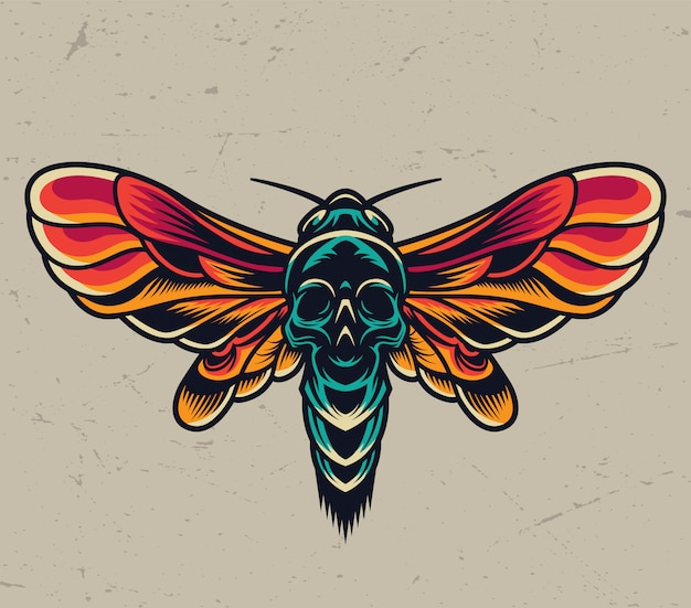 Vintage colorful flying death head moth