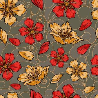 전통적인 추상에 아름다운 사쿠라 꽃과 꽃잎과 함께 빈티지 다채로운 일본 꽃 원활한 패턴