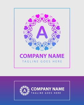 Vintage colorful letter logo template