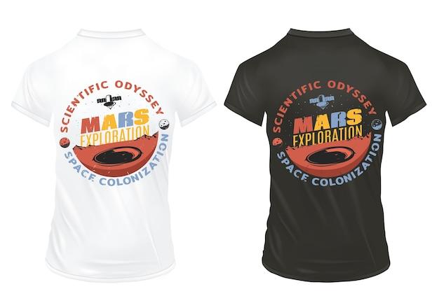 Vintage colorful mars exploration labels
