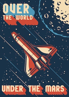 Vintage colorful mars exploration poster