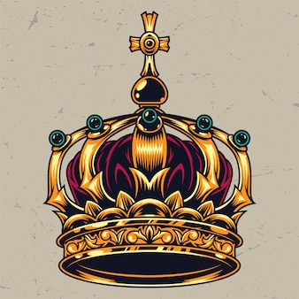 Vintage colorful ornate royal crown concept