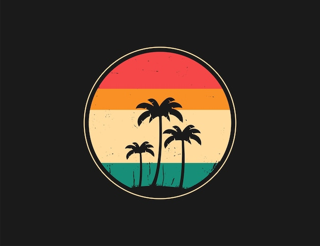 Vintage, colorful and retro round logo with palm trees silhouette on black background