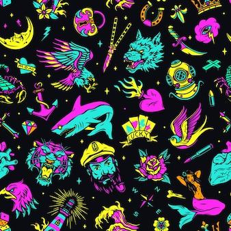 Vintage colorful sea tattoos seamless pattern