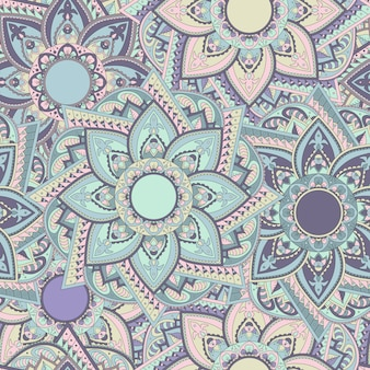 Vintage colorful seamless oriental mandala pattern. east indian style.